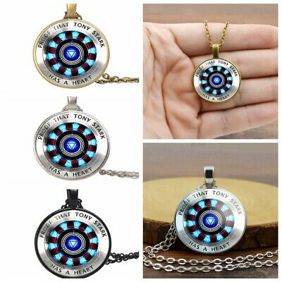 Iron Man Tony Stark Necklace Avengers Endgame Chain Heart Crystal Glass Pendant