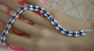 Vintage Jewellery Tennis Chain Bracelet Blue and White Sapphires Dress Jewelry