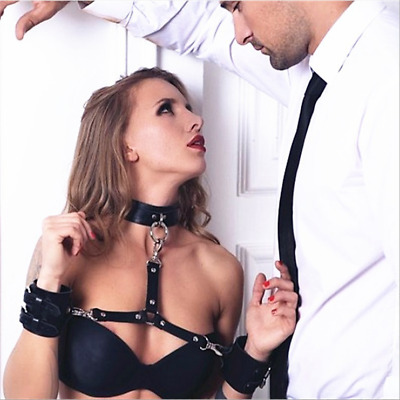 Black PU Bondage Collar Neck Arm Hand Cuff Kinky Slave BDSM Restraint Harness