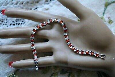 Vintage Jewellery Tennis Chain Bracelet Rubies and White Sapphires Dress Jewelry