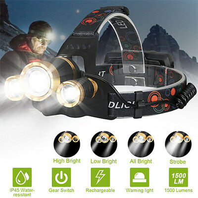 IP45 waterproof T6 LED Head Light Torch Headlamp 18650 Rechargeable Flashlight