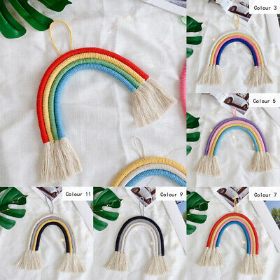 Rainbow Macrame Cotton Tassel Baby Pram Tent Cotton Hanging Wall Nursery Decor
