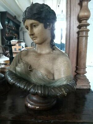 Beautiful Antique painted Plaster Female Bust 19th century classic country house