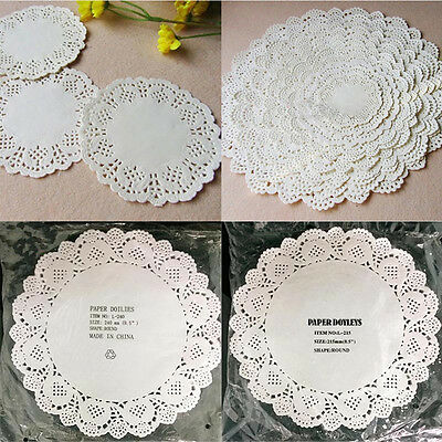 80pcs Round Paper Lace Doyleys Doilies Catering Party Wedding Crafting