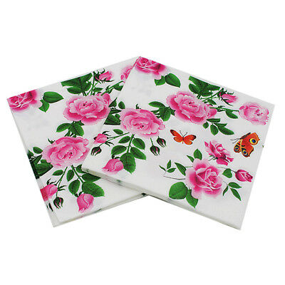 20x floral paper napkins flower disposable birthday wedding party table decor