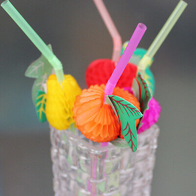 50pcs Mixed 3D Fruit Cocktail Drinking Plastic Straw Party BBQ Hawaiian 24cm