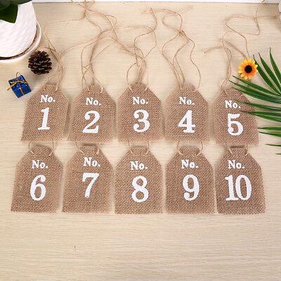 Hessian Square Table Numbers 1-10 Burlap Wedding Party Vintage Rustic
