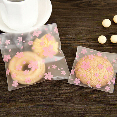 100x/Lot Lovely Pink Cherry Blossoms Cookie&Candy Bag Self-Adhesive