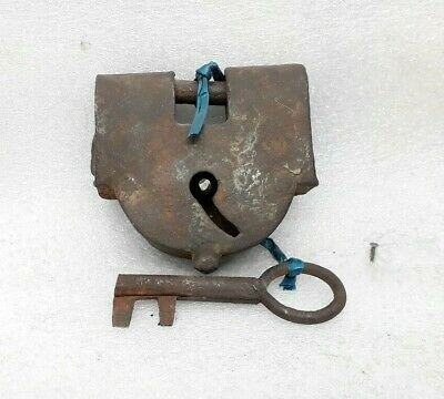 Antique Original Old Iron Padlock Key Hand Crafted Lock Working Condition ARA11