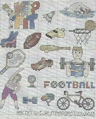 Keep Fit Body Builder Building tennis cricket swimming Cross Stitch Pattern (85)
