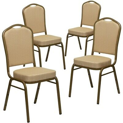 4 Pk. HERCULES Series Crown Back Stacking Banquet Chair with Beige Patterned...