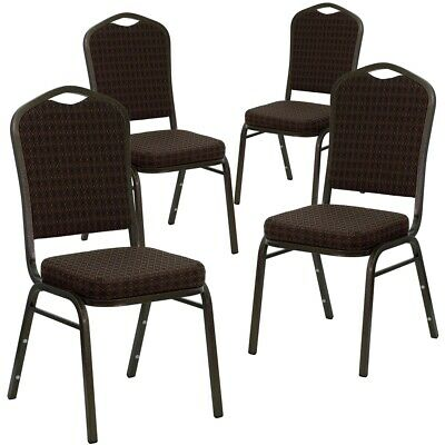 4 Pk. HERCULES Series Crown Back Stacking Banquet Chair with Brown Patterned...
