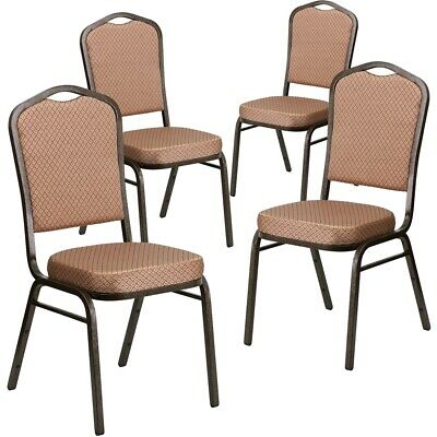 4 Pk. HERCULES Series Crown Back Stacking Banquet Chair with Gold Diamond...
