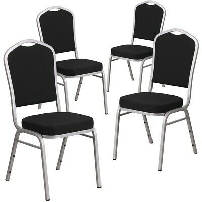 4 Pk. HERCULES Series Crown Back Stacking Banquet Chair with Black Fabric...