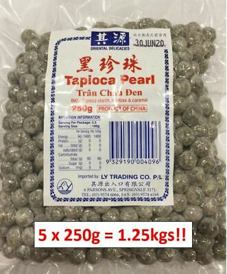 5 x 250g Original Tapioca Pearls for Bubble tea drink BOBA AU SELLER  Free Straw
