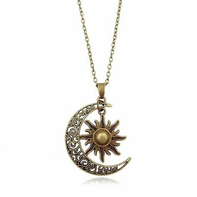 Moon And Sun Necklace Magical Celtic Crescent Retro Vintage Celestial Jewelry