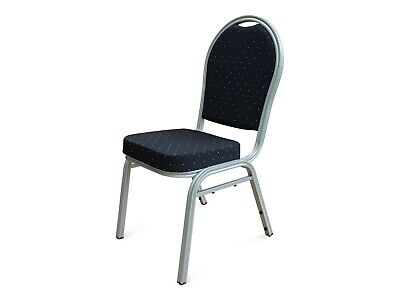 Black Metal Banqueting Chairs. Silver. Round Back Stacking Steel Church Marquee