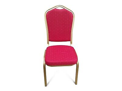 Red Metal Banqueting Chairs. Gold. Shield Back Stacking Steel Church Marquee
