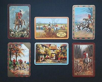 Collection of 6 vintage hunting playing cards - 1930s-50s superb foxhunting gift