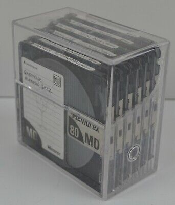 10 x Mini Discs 74 minute + Storage Box TDK MAXELL Minidisc Blank Used 74 Min