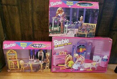 Lot Of 3 Barbie Furniture Sets So Much To Do Bedroom, Dining Room, Flower Garden