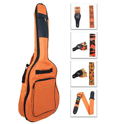 Protection Pad Acoustic Guitar Soft Case Gig BAG 41 In Full Size Orange + STRAP