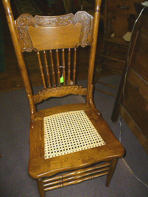 Antique Oak Chair Press Back Ornate Cane Seat Refinished Re Glued Kitchen