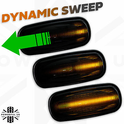 Dynamic sweep LED Smoked Side Repeater wing indicator light fits Discovery 2