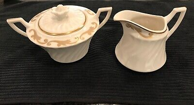Syracuse China Creamer & Sugar with Lid Gold Trim Fluted Edge. Baroque