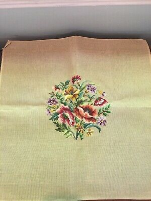 Vintage Preworked Needlepoint Canvas Floral Seat Pillow