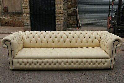 Ex-Display Handmade 4 Seater Cream Leather Chesterfield Sofa Couch Settee
