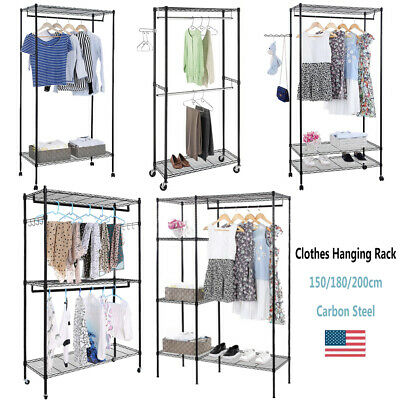 3-Tier Portable Closet Organizer Metal Garment Storage Rack Clothes Hanger Shelf