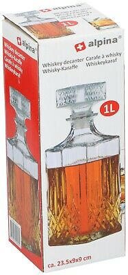 Alpina Glass Whiskey Decanter Sherry Brandy Liqueur 1Litre Decorative Drinks Jar