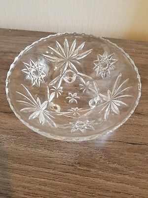 Vintage Pinwheel Star Cut Glass Crystal Three-Footed Candy / Nut Bowl