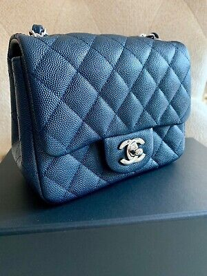d6ffe2cd75fa40 CHANEL Navy Blue Caviar Mini Flap Handbag Crossbody SHW Mint Cond 100% Auth