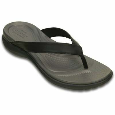 NEW Crocs Capri V Flip Black/Graphite Thong Sandals