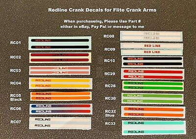 pair REDLINE Flite Crank Decals Choice - 1 pair any color, 14 to choose from