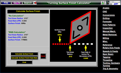 CNC Lathe Turning Surface Roughness Calculator Software Valenite Carbide Inserts