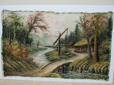 "Antique Vintage Asian SILK Embroidered Crewel Work Picture 11x18"" Landscape"