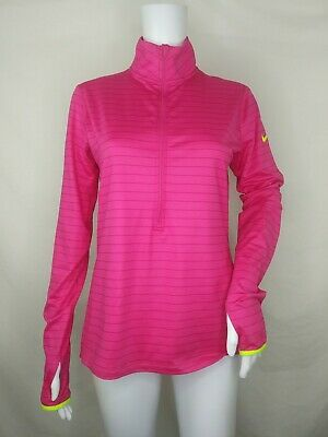d163c7b9 Nike top Large L pullover long sleeve 3/4 zip thumb holes pink stripe dri