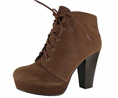 4817b71fc2 SODA Women's Agenda-H Lace-Up Chunky Heel Platform Ankle Bootie (Nubuk Brown