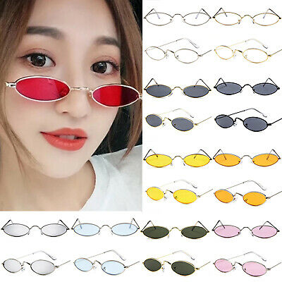 Men Women Retro Vintage Small Oval Sunglasses Metal Frame Tiny Shades Glasses