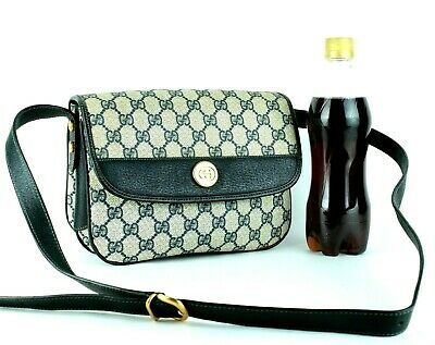 49780c7fd377 Auth GUCCI Vintage GG Canvas & Navy Leather Crossbody Shoulder Bag Purse  Italy