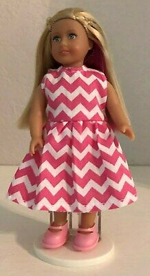 American Girl Mini Doll Isabelle,  Adorable Dress, Pink Shoes, Panties + Stand