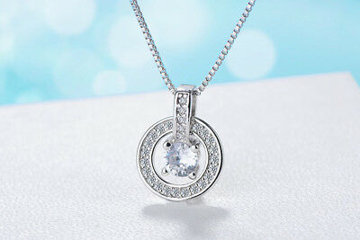 "Shiny 925 Sterling Silver Plt CZ Circle Loop Ring Pendant Necklace 17.7"" Gift UK"