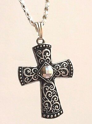 "Silver Crystal Art Deco Crystal Cross Necklace Plated Vintage 22"" Long Plus Size"