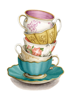 """SHIP FROM NY- Temporary Tattoo -  3"""" x 1.75"""" vintage cup and saucer"""