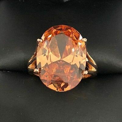Large 7 Ct Oval Yellow Citrine Solitaire Band Ring Women Engagement Wedding Gift