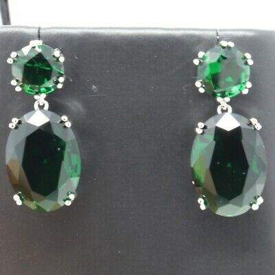 Vintage Antique Green Emerald Dangle Earring Women Jewelry 14K White Gold Plated