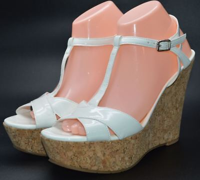 c1204c43a5 Jessica Simpson Platform Wedges 8.5 M Shoes Cork Heel White Patent Faux  Leather